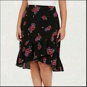 Torrid | Faux Wrap Floral High Low Skirt